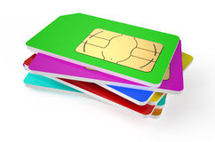 Stack of SIM cards. Isolated on white background royalty free illustration