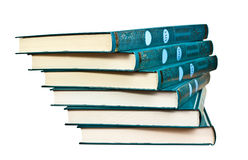Stack of similar books on white background Royalty Free Stock Images