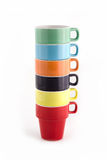 Stack of Six Colorful Cups. Stock Image