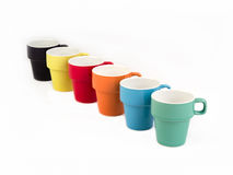 Stack of Six Colorful Cups. Royalty Free Stock Photography