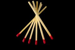 Stack of six matches Royalty Free Stock Photography