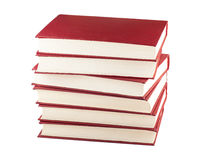 Stack of six red books. Isolated on white background Stock Image