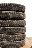 Stack of sixwheel tyres Stock Photos