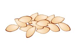 Stack of Slice Almonds on White Background Stock Photography