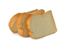 Stack of sliced American white bread on white Royalty Free Stock Images