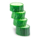 Stack of Sliced Cucumber  isolated on white Stock Photo