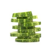 Stack of sliced fresh cucumbers. Royalty Free Stock Photos