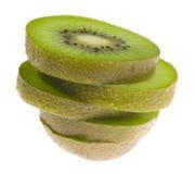 Stack of sliced kiwi fruit stock image