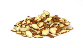 Stack Sliced Raw Almonds Stock Image