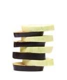 Stack of slices black eggplant. Stock Photos