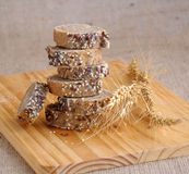 A stack of slices of bread with grains Royalty Free Stock Photos