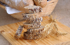 A stack of slices of bread with grains Royalty Free Stock Image