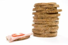 Stack slices of bread and sandwich Stock Photo