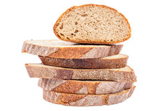 Stack of slices of bread on white background. Royalty Free Stock Images