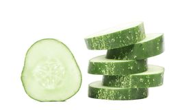 Stack and slices of fresh cucumber. Stock Photography