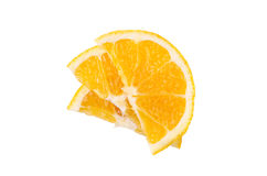 Stack, slices of orange on a white background royalty free stock images