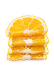 Stack slices of orange on a white background Royalty Free Stock Photos