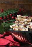 Stack of slices of traditional festive Christmas Italian style Panforte  fruit cake Royalty Free Stock Images
