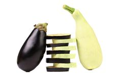 Stack of slices. Zucchini and black eggplant. Royalty Free Stock Photo