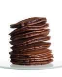 Stack of Small Chocolate Pancakes Stock Images