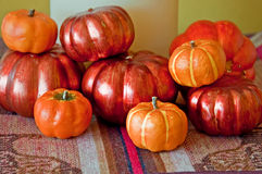 Stack of Small Pumpkins Fall Decor Stock Photos