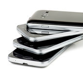 Stack of Smartphones Royalty Free Stock Images