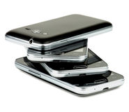 Stack of Smartphones Stock Photo