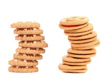 Stack of smile biscuits and another. Stock Photos