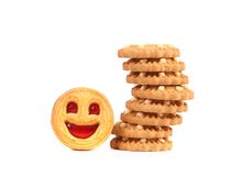 Stack of smile biscuits. Royalty Free Stock Image