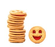 Stack of smile biscuits. Stock Photos