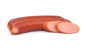 Stack of smoked sausages  on a white background. 。 Royalty Free Stock Photography