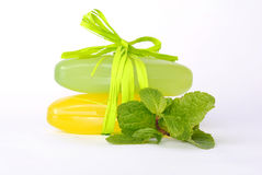 Stack of soap with mint sprig Royalty Free Stock Image