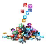 Stack of social network pictograms Royalty Free Stock Photography