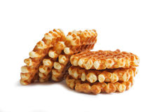 Stack of soft waffles  on white Royalty Free Stock Photo
