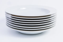 Stack of Soup Plates Stock Images