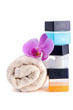 Stack of spa accessories with flower Royalty Free Stock Photography