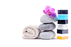 Stack of spa stones with flower Royalty Free Stock Photos