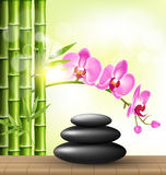 Stack of spa stones with orchid pink flowers and bamboo and sunl Royalty Free Stock Images