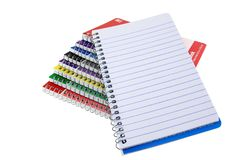 A Stack Of Spiral Notebooks With Blank Page Stock Images