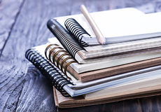 Stack of spiral notebooks Stock Photo