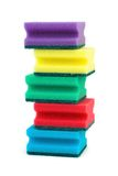 Stack of sponges. Isolated on white background royalty free stock photography