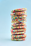 Stack of sprinkled cookies Royalty Free Stock Photos