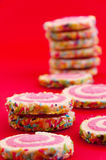 Stack of sprinkled cookies Royalty Free Stock Image