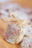 Stack of sprinkled holiday cookies Royalty Free Stock Images