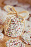 Stack of sprinkled holiday cookies Royalty Free Stock Photo