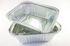 Stack of Square Catering Trays Royalty Free Stock Images