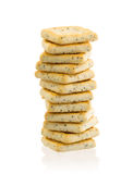 Stack of square crackers isolated Royalty Free Stock Images