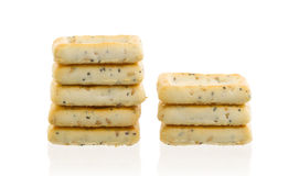 Stack of square crackers isolated Stock Photos