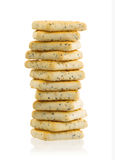 Stack of square crackers  Royalty Free Stock Photos