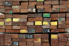 Stack of square wood planks for background Royalty Free Stock Image